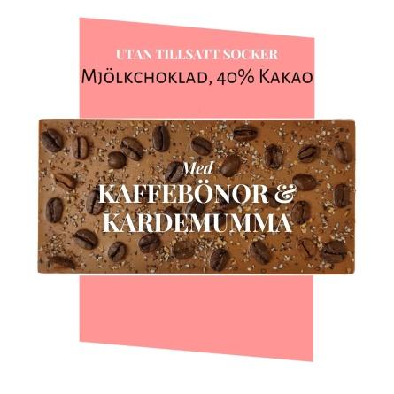 Pralinhuset - 40% Kakao - Kaffebönor & Kardemumma - Utan Tillsatt Socker -