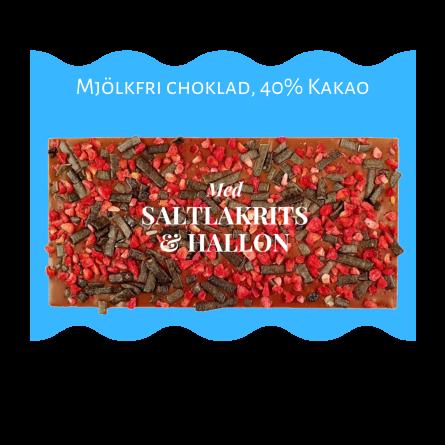 Pralinhuset - 40% Kakao - Mjölkfri - Saltlakrits & Hallon -