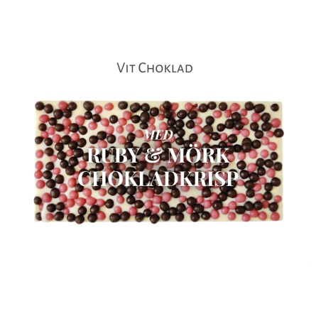 Pralinhuset - Vit Choklad - Rubykrisp & Mörk Chokladkrisp -