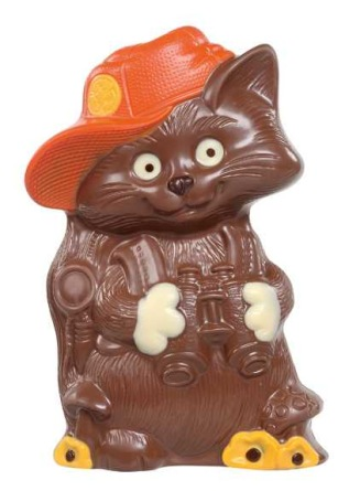 Chokladfigur - Katt med Keps - 250 gram -