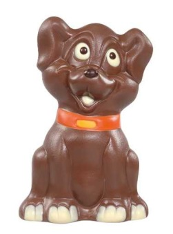 Chokladfigur - Hund med Halsband - 150 gram -