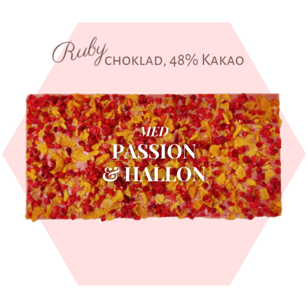 Pralinhuset - Ruby choklad - Passionsfrukt & Hallon -