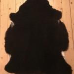 Nr: 18121. Finullsskinn, svart. Ekoberedning 35mm. 96x76cm. Tjockt och mkt mjukt. Pris: 1100kr.