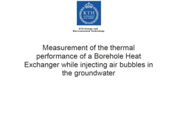 Measurement of the thermal performance