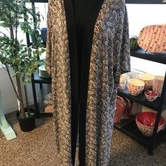 Kimono svart paisley lång