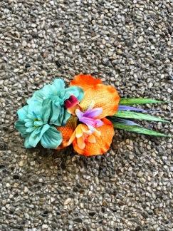 Hårblomma turkos/ orange orkide