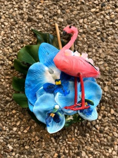 Hårblomma blå hawaii med flamingo