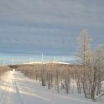 På väg längs vägen från Lappberg mot vindkraftparken uppe på Sjisjkaberget.