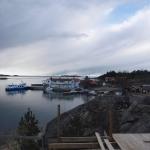 Utsikt mot affären och sjömacken på Arholma.