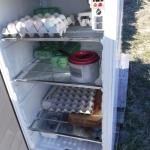 Inuti kylskåpet.