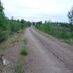 Den gamla banvallen som tidigare ledde tågen över Kalixforsbron är numera en väg fram till några hushåll.