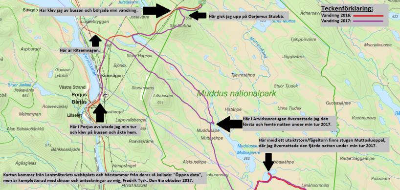 Karta över norra delen av turen.