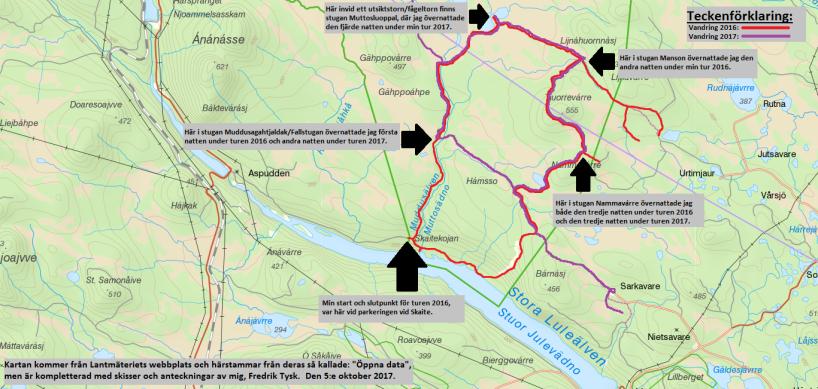 Karta över södra delen av turen.