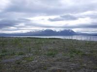 Utsikt från Ritsem mot Akkamassivet, som ligger på andra sidan av Akkajaur.