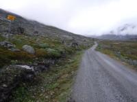 Nu tittar jag bakåt längs grusvägen som jag följer och ser då naturligtvis en skylt som upplyser att man kommer in i Norge.