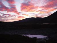 Fina färger på himlen vid Hunddalshytta.