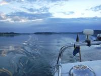 Dieselmotorn brummar på ut på det stora havet, under denna majkväll.