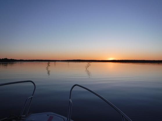Sommarnatt i Haparanda skärgård, då jag var på väg in mot Vuono Fiskehamn mellan björkriskorna i vattnet.