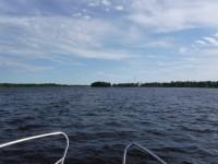 Ute på vattnet i slutet av en lång resa.