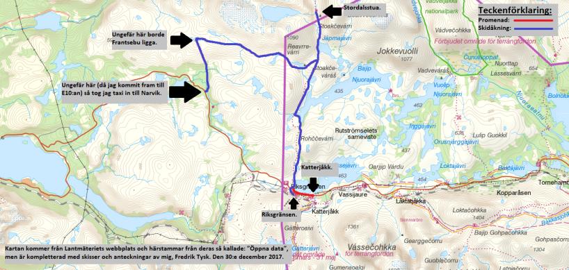 En ungefärlig karta över turen.