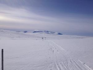 Det är lättsamt och skönt att åka skidor då man har ett snöskoterspår att följa.