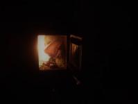 Brasan brinner i Goldahytta.