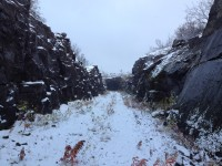 En äldre linjesträckning och tunnel vid Søsterbekk.