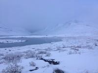 Min fjällvandring blev som en vintertur i snön.