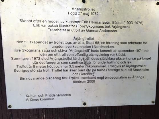 En informationsskylt på Årjängstrollet i Årjäng.