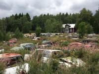 Både skrotbilarna och de intilligande husen vid Bilkyrkogården i Båstnäs tycks vara i lika dåligt skick.