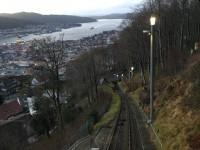 """Bergbanan """"Fløyen"""" i Bergen är brant."""