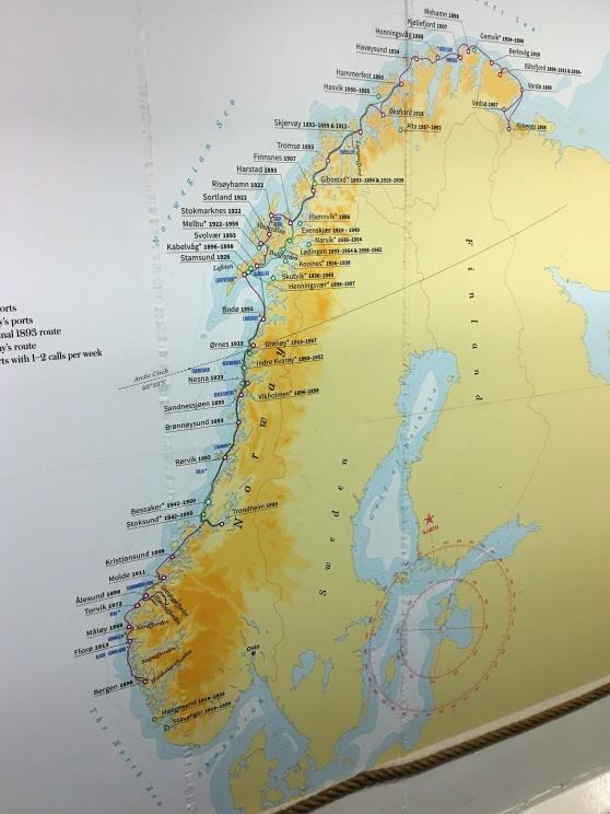 Ombord på MS Vesterålen finns en liten utställning om Hurtigruten och dess historia, samt en karta som visar vilka platser som Hurtigruten har trafikerat längs den norska kusten genom åren.