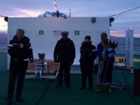 Kung Neptun på besök under polcirkelceremonin som ägde rum på MS Vesterålen efter att vi korsat den norra polcirkeln.