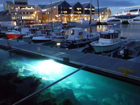 I Hammerfest var vattnet vackert belyst vid denna brygga, så att man tydligt kunde se om det var några fiskar i vattnet. I bakgrunden skymtar MS Vesterålen.
