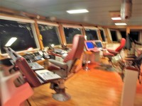 Utsikten är bra från kommandobryggan på MS Vesterålen.