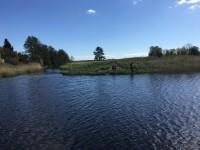 Detta är Hjälmare kanals gamla utlopp i Arbogaån, som är beläget något längre västerut än Hjälmare kanals nya utlopp i Arbogaån.