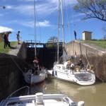 Slussning i Göta kanal.