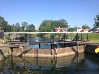 Slussen vid Borensberg är en av Göta kanals två slussar som är helt manuella, då den är handmanövrerad och saknar hydraulik.