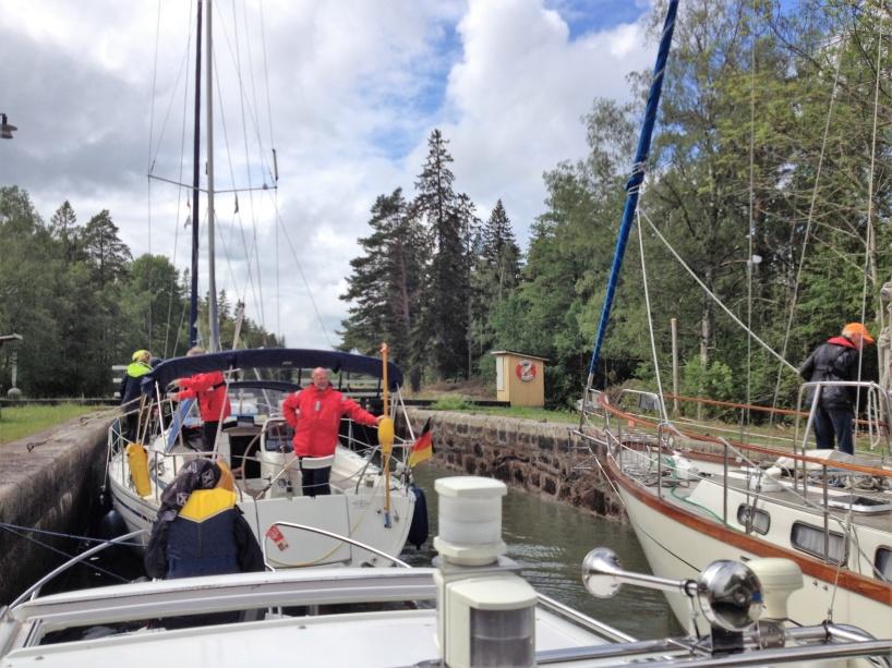 Slussning i Göta kanal, under söndagen den 9:e juni 2019.