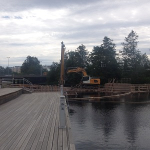 Byggnadsarbeten pågick i Kristinehamn.