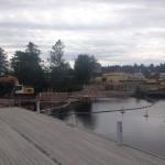 Byggnadsarbeten vid gästhamnen i Kristinehamn.