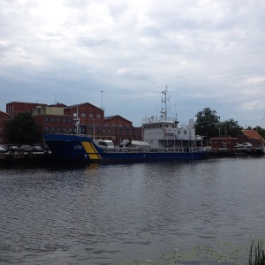 I Lidköping stod ett av Kustbevakningens fartyg.