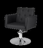Frisörstol Belle X i svart med rund fot