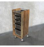 Återvunnet trä Rullbord Tollmo med rostfritt stål