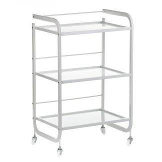 Arbetsbord i vit stål & glas - Arbetsbord i vit stål & glas