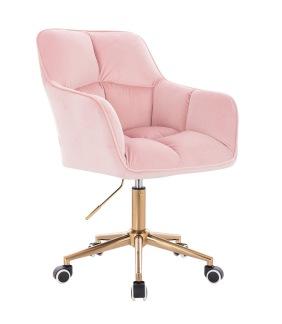 Arbetsstol MIA med gyllene Hjul velour softrosa - Arbetsstol MIA med gyllene Hjul velour soft rosa