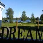 Utsikt inifrån restaurangens mot sjön