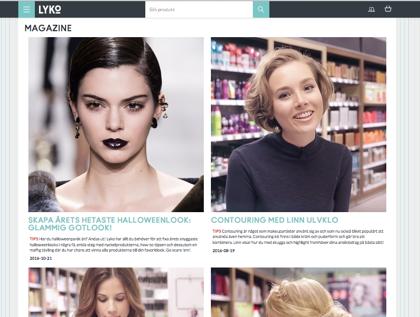 Lyko är ett företag som säljer hud- och hårvårdsprodukter med mera. I deras webbmagazine ger de bland annat kunderna stylingtips och tips om nya produkter.