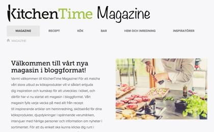 Kitchentime, kanske Sveriges bästa sajt för köksaker. De använder sitt magazine till inpiration och annat som ökar deras försäljning.