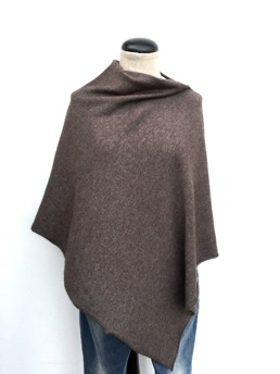 Klassisk Cashmere Poncho Chocolate -